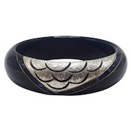 Elegant Art Deco Style Hand Made in France Thermoset Bangle with Blue Stones