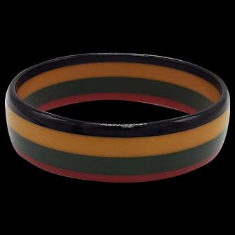 Vintage Four-Color Laminated Bakelite Striped Bangle