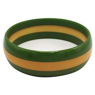 Vintage Laminated Bakelite Bangle in Two-Color-Trio