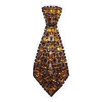 Vintage Man's Tie Taupe-Colored Rhinestone Brooch