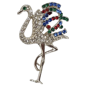 Small Napier Version of the Famed Duchess of Windsor Cartier Flamingo Brooch