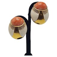 Ciner Faux Coral,  White Enamel and Faux-Gold Clip-on Earrings