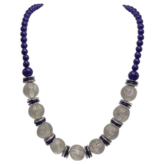 Vintage Purple and Molded Frosted Plastic Necklace with Discs