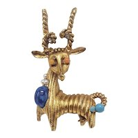 Exotic Animal Pin With Faux Coral, Turquoise and Lapis Accents