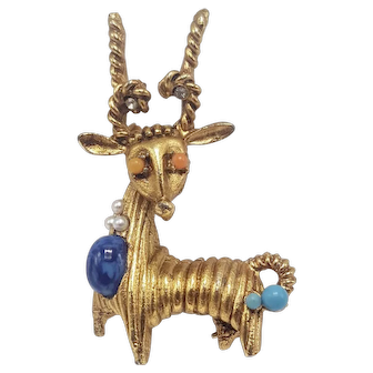 African Antelope Deer Pin With Faux Coral, Turquoise and Lapis Accents