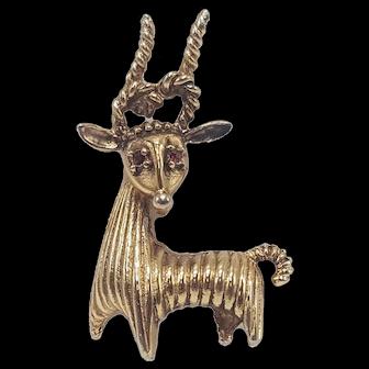 African Antelope Deer Pin In All Gold-Tones