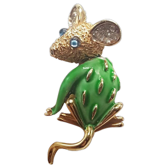 Tiny Trifari Mouse Pin with Green Enamel Original Trifari Tag and Original Price Tag.