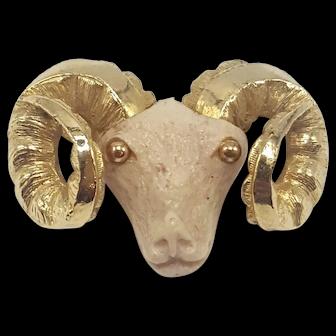 RAZZA Resin Ram's Head Pin With Gold-tone Horns