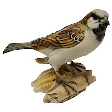 Tay—Life-size Porcelain of Mountain Sparrow by Italian Sculptor Giuseppe Tagliariol