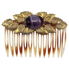 Miriam Haskell Hair Comb with Gold-tone Leaves and Purple Murano Glass Stone