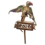 Rare Vintage Dress Clip of Parrot On An Organ Grinder Begging for Money