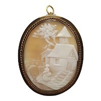 Scenic Cameo with Girl on Church Steps in Rolled Gold Pin/Pendant Mounting