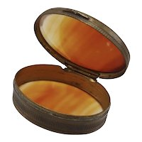 Two-Sided 19th Century Translucent Agate Hinged Oval Box