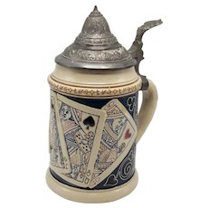 German Beer Stein with Playing Cards and Pewter Lid