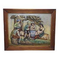 Large Colorful Vintage Ceramic German Tile Depicting Five People in Traditional Bavarian Attire