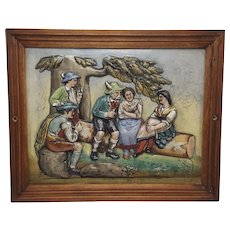 Large Colorful Vintage Ceramic German Tile Depicting Five People in Traditional Bavarian Attire
