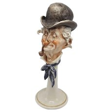 Capodimonte (Italy) Figural Porcelain Bust of Man with Hat, Pipe and Wire Glasses