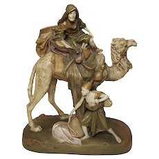 Royal Dux (Czechoslovakia) Porcelain Bedouin Traveler On Camel With Servant