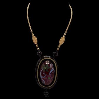 Vintage Emanuel Ungaro Hand Painted Necklace/Pendant