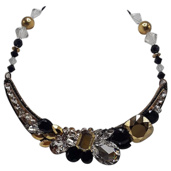 Wendy Gell Collar-Style Necklace in Clear, Black and Gold-tones