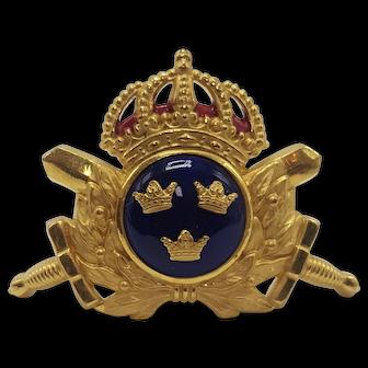 "Vintage C. Sporrong & Co. Tre Kronor ""Three Crowns"" Blue Enamel Brooch"