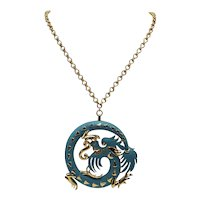 Trifari Fire-breathing Dragon Necklace in Matte Turquoise and Gold-tones