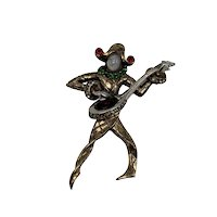 Mandolin Player Brooch Sterling with Gold-Wash Figural by Mandel for Coro