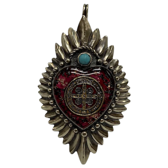 Mexican Sterling and Turquoise Pendant Containing The Saint Benedict Medal Within A Pink Heart
