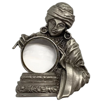 1960s Gypsy Fortune Teller Clear Lucite Acrylic Jelly Belly Pin by JJ