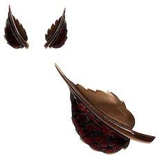 Copper and Enamel Modernist Leaf Brooch and Earrings Set Signed Matisse