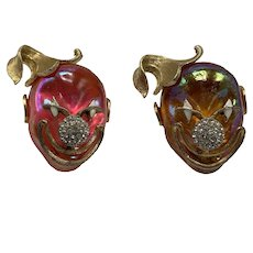 Two Mid-Century Luminescent Resin, Gold Tone, and Rhinestones Clown Face Pins by Lisner