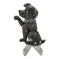 Sterling Silver Dog Shaking Hands Brooch With Marcasites and Mother-of-Pearl Insets