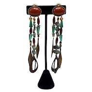 Vintage Chipita Joan Eagle Carnelian and Brass and Copper Clip-On Dangle Beaded Earrings