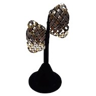 Gabriel Ofiesh Basketweave Pierced Earrings of 18k Gold Bonded to Sterling Silver