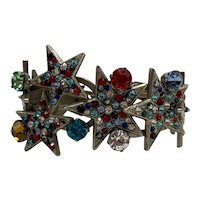 Unusual Vintage Clamp-Style Hinged Bracelet With Colorful Stars and Large Stones