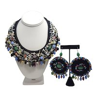 Emporio Armani Beaded Fabric Collar Necklace And Pierced Earrings Set