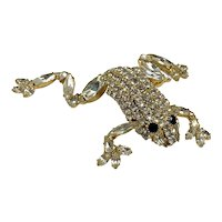 Vintage Dorothy Bauer Arched-Back Frog Brooch With Clear Prong-Set Stones