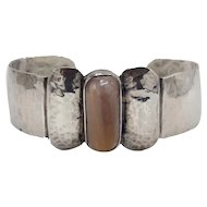 Navajo Silver Cuff Bracelet with Abstract Butterfly Design