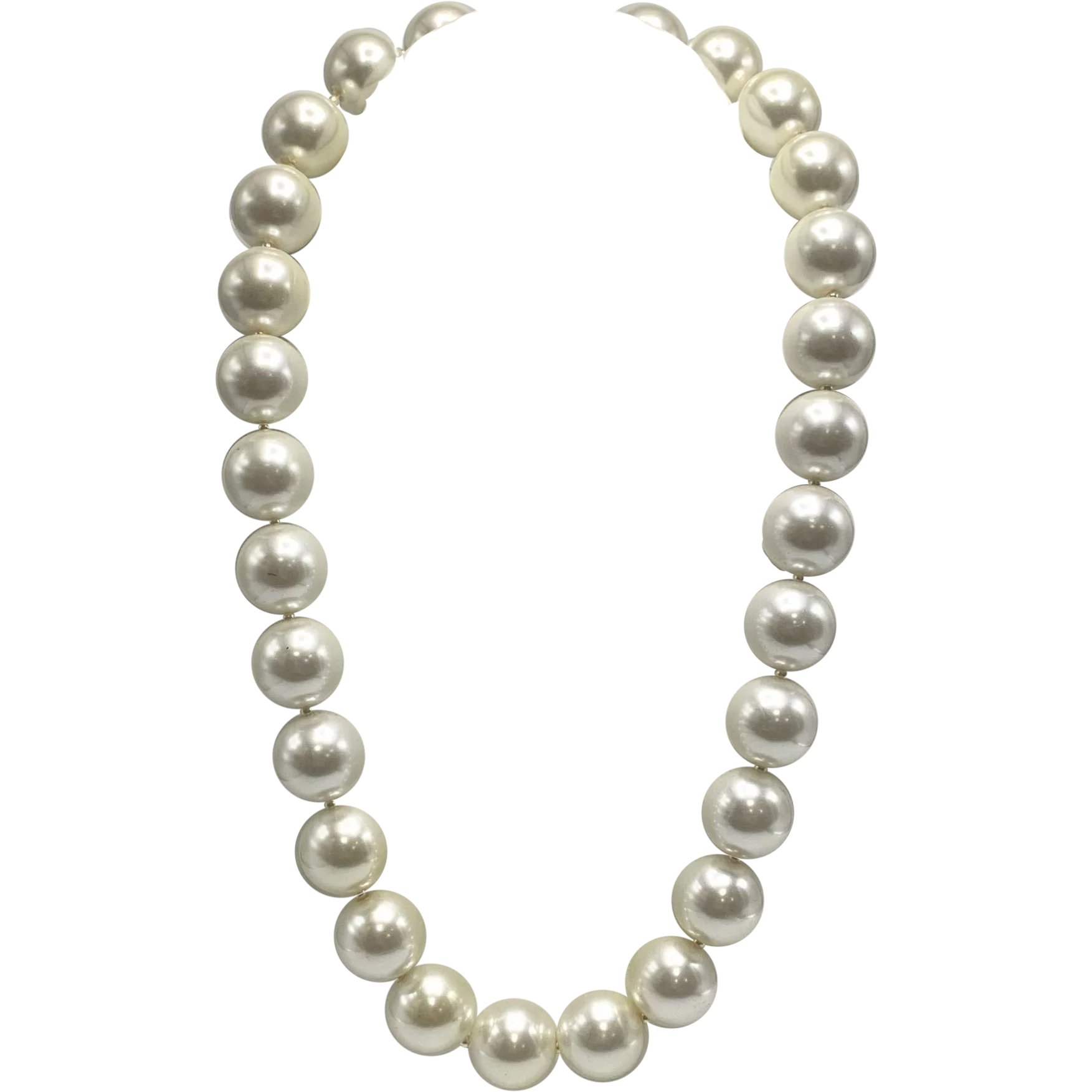 Kenneth Jay Lane Twisted Faux Pearl Necklace 17 3 ext Gray