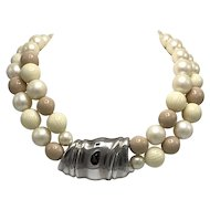 Givenchy Double-Strand Faux Pearl and Faux Ivory Necklace with Large Silver Tone Pendant