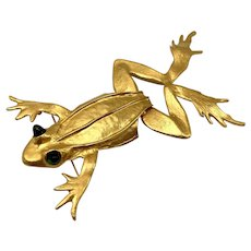 Kenneth Lane Very Large Gold-tone Leaping Frog Moveable Brooch with Huge Green Eyes