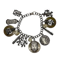 Vintage Asian Themed Metal and Bakelite Charm Bracelet