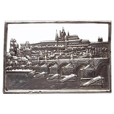 Rare Skyline of Old Prague 800 Silver Brooch With Charles Bridge and Prague Castle