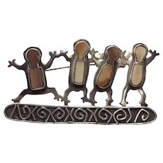 Vintage Zealandía Four Figure Sterling Silver Brooch with Fossilized Tusk Inlay