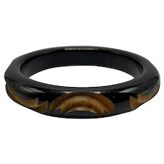Two-Tone Cast Bakelite Bangle with Carved Abstract Semi-Circular Design