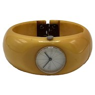 1940s Deco-Style Mustard Color Bakelite Clamper Bracelet Inset with Royal Dynasty Watch