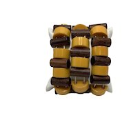 Three Stretch Bakelite Bracelets of Butterscotch and Wood-tones