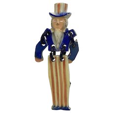 Painted Early Celluloid or Plastic Patriotic Uncle Sam Pin with Moveable Arms and Legs