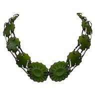 Carved Translucent Green Bakelite and Chrome Belt/Necklace