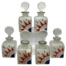 Six Piece Czech Painted Deco Glass Dresser Set